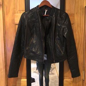 Free People Leather Jacket Size 4